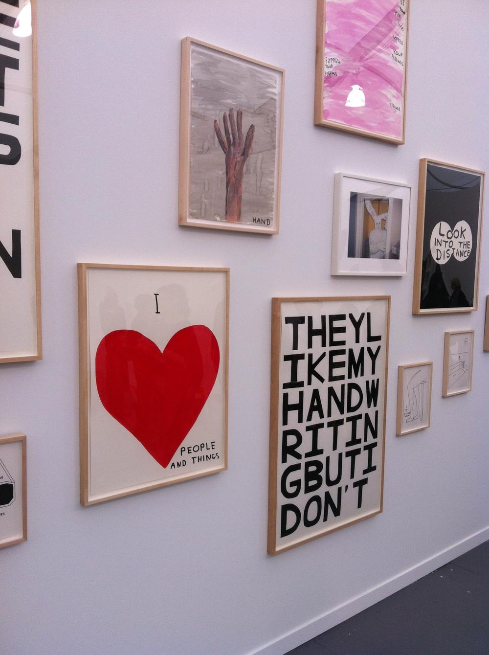 David Shrigley installation shown at the Anton Kern booth
