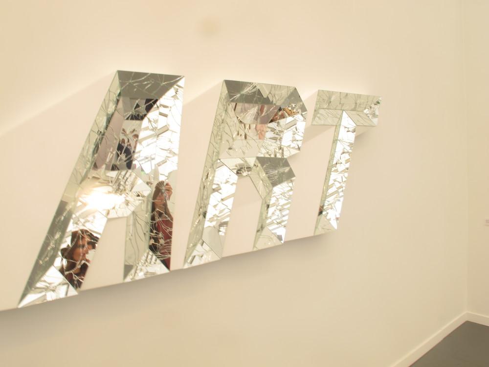 "Doug Aiken's broken mirror's ""Art"" sculpture"