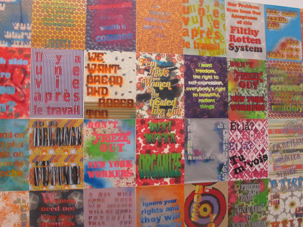 Andrea Bowers fabulous install.  There was also a controversy about a letter that she sent to Frieze and the organizers in connection with unions and labor practices and the letter was taped to the wall next to her works. Brilliant.