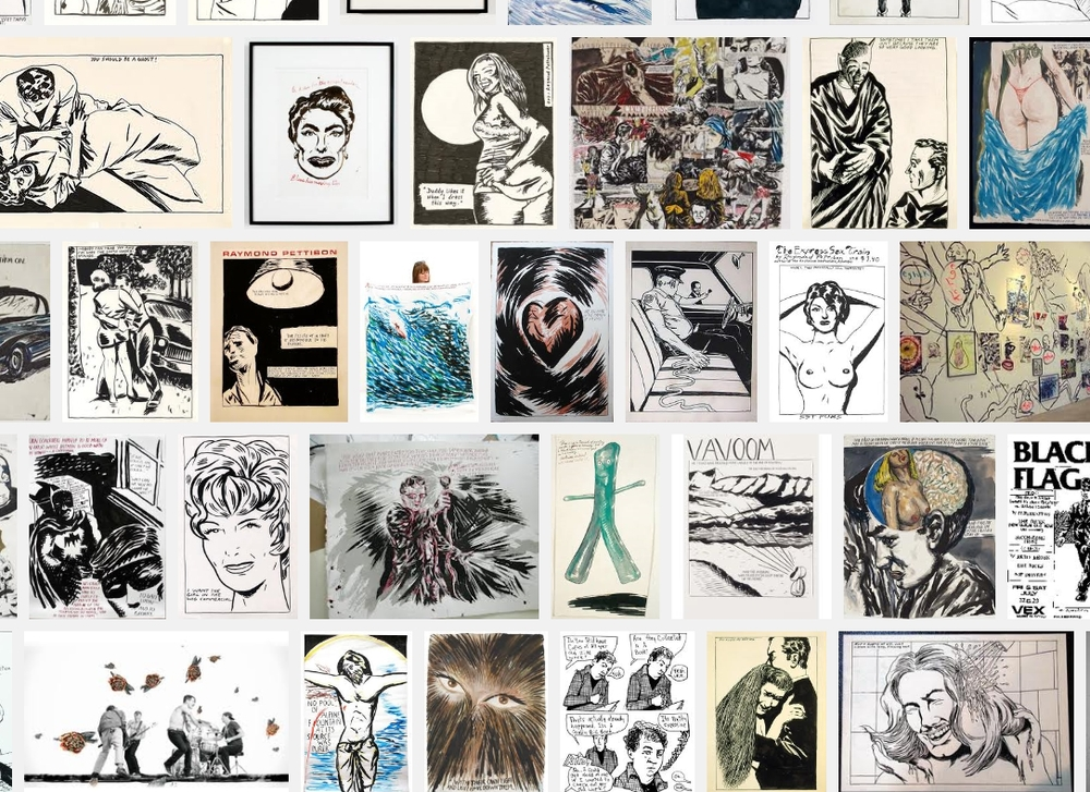 A selection of Ray Pettibon's works on paper