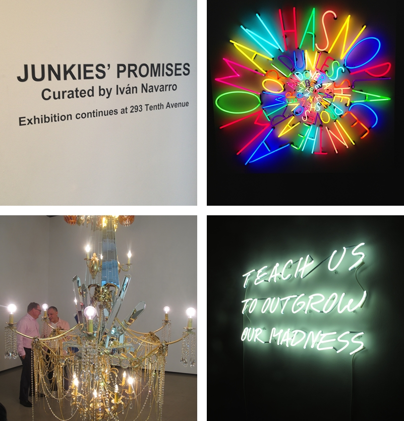 "From top clockwise: The entrance to the show; Deborah Kass's mindblowing neon ""After Louise Bourgeois"";  Dzine's Chandelier (and Dzine himself with Paul Kasmin on the back) and Alfredo Jaar neon"