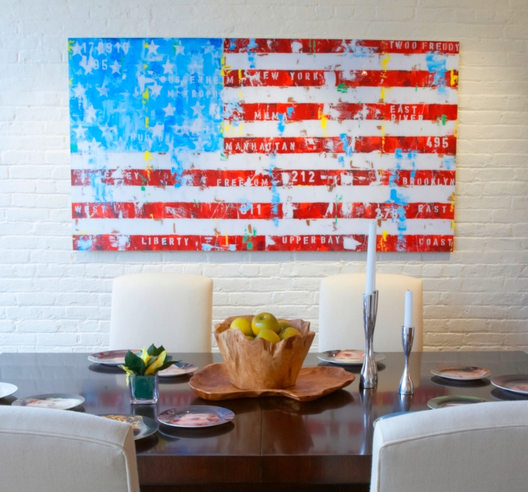 This is an apartment that I designed for a client of mine in the Village.  The flag piece is a manipulated photograph by the German artist Freddy Reitz