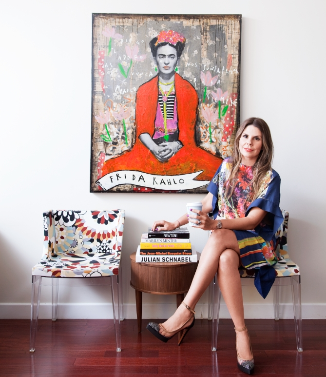 Me with a rendition of Frida by contemporary French artist Corinne Dalle-Ore. Photo by Lianna Tarantin