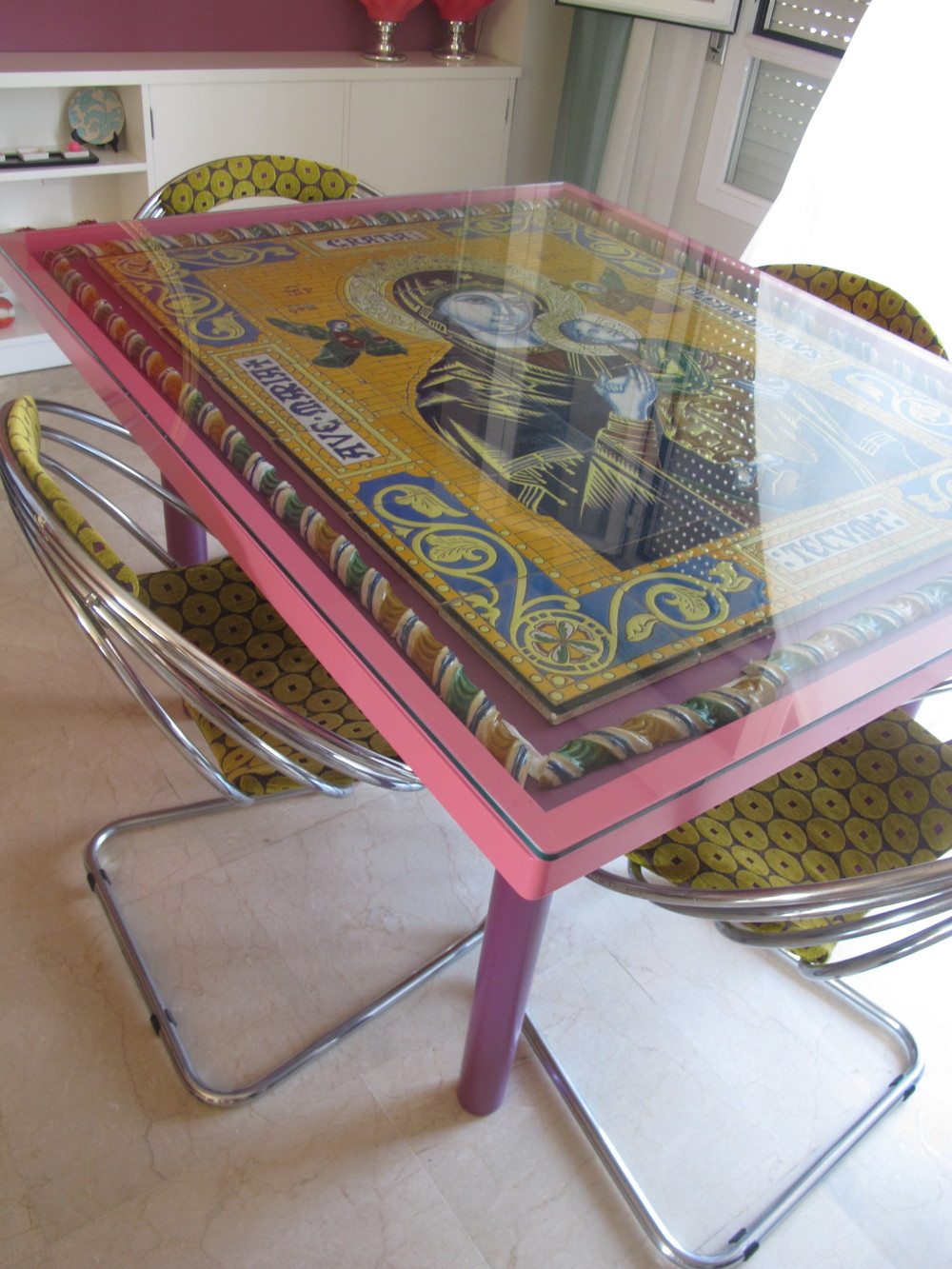 An amazing table designed by Angela using a 1940s mosaic composition