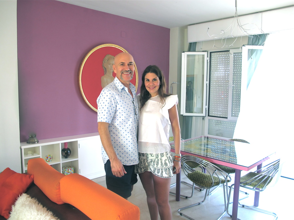 Salustiano and I in his colorful living room in his house in Seville