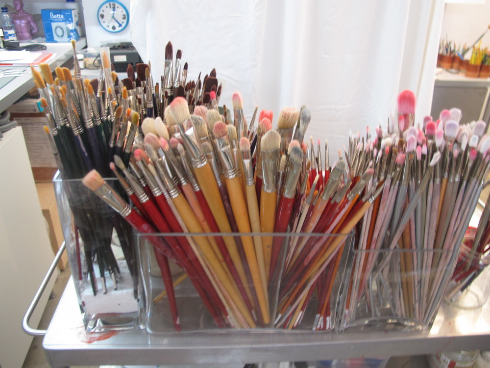 Dozens of brushes, perfectly clean