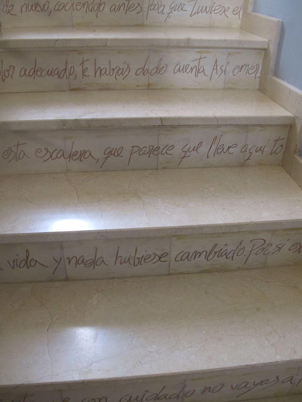 Even the steps in Salustiano and Angela's house and studio have art in them.  This is a poem that has been carved in ceramic slates. Amazing
