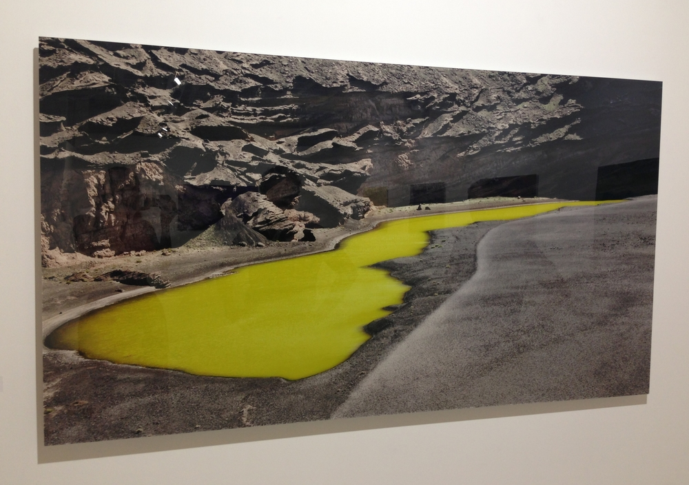 An intense acrylic-mounted photograph by Monica Sanchez-Robles taken in Lanzarote (the yellow water pond is actually like this in real life)