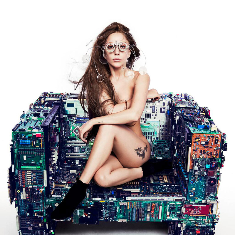 "Lady Gaga sitting on Bejamin Rollins Caldwell's ""Binary Chair"", who is exclusively represented by Industry Gallery"