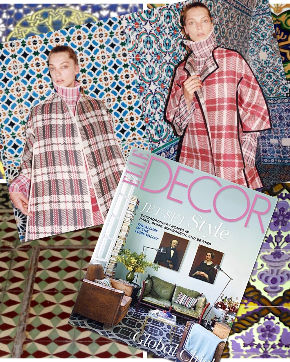 Céline goes with Daria Werbowy photographed by Juergen Teller for the Fall campaign and Elle Décor's September 2013 issue shows the Marrakech living room of Caitlin Dowe-Sandes (who owns a Moroccan tile factory)