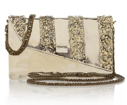 Melted Envelope silver-tone shoulder bag
