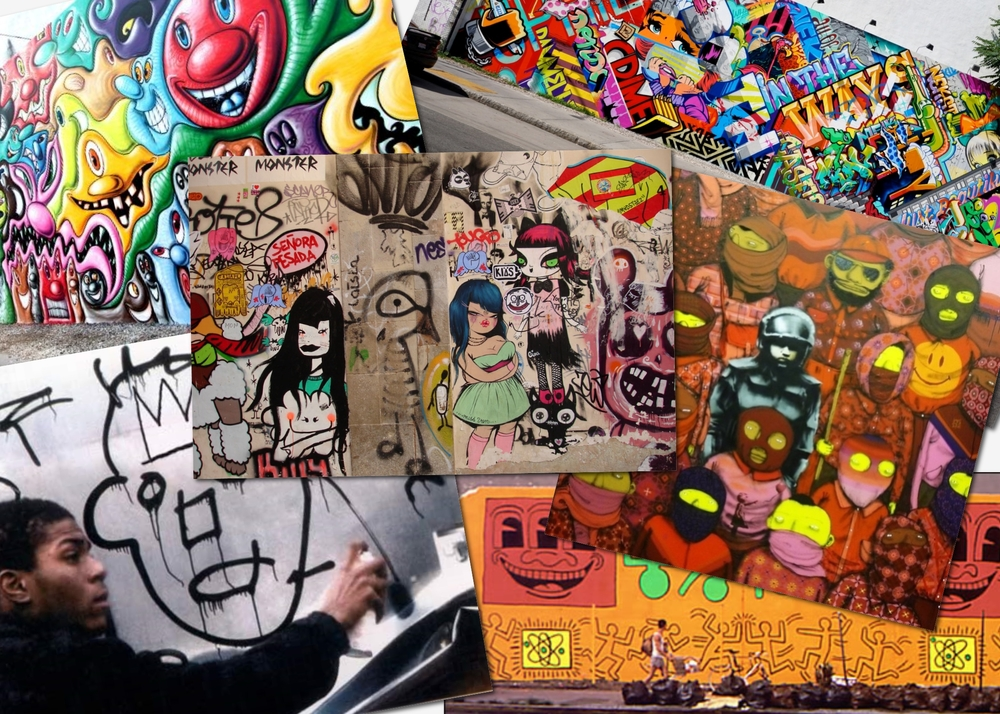 From top (clockwise): Kenny Scharf's mural on Houston and Bowery; Revoke and Pose's mural on Houston and Bowery; Os Gemeos and Banksy's 2013 collaboration; Miss Van's graffiti in Barcelona, Basquiat tagging walls in New York City, the 1982 mural that Keith Haring painted on Houston and Bowery.