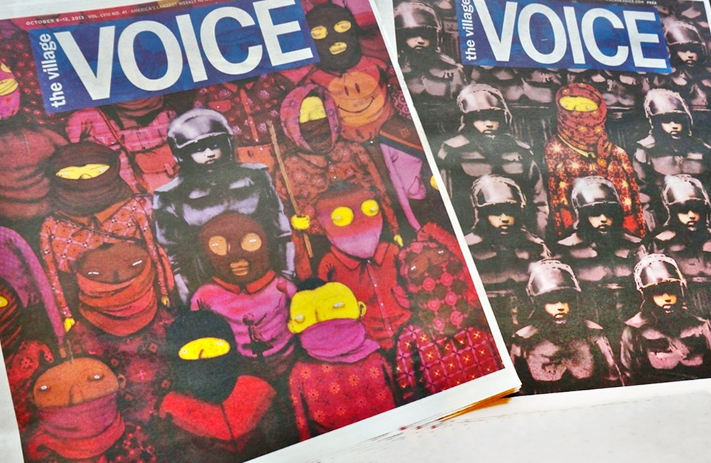 The cover of the Village Voice on October 9, 2013 with the collaboration between Banksy and Os Gemeos.