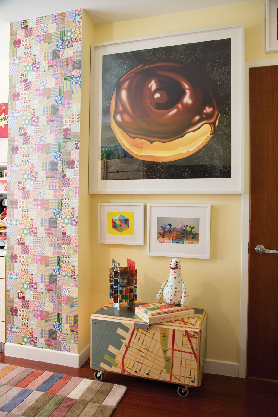 "This is my kids' bedroom with Kenny Scharf's ""Cosmic Donut"" on the wall"