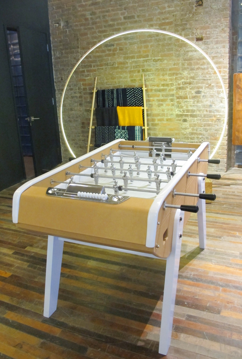 This foosball table designed by Bronzini for Domeau & Pérès is made of leather and aluminium and can be customized in a variety of colors.  So exquisite.