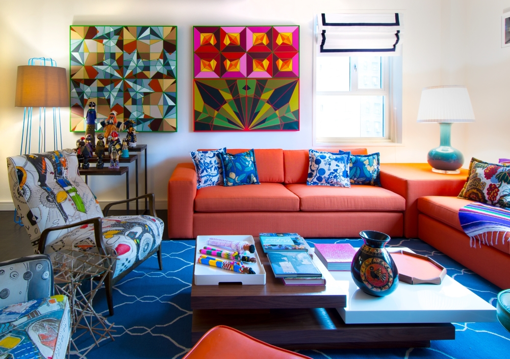 Sensory overload.  Sometimes only in fashion a designer dares to play with such intense color combinations and patterns.  I loved designing this apartment.  It's such a happy place.