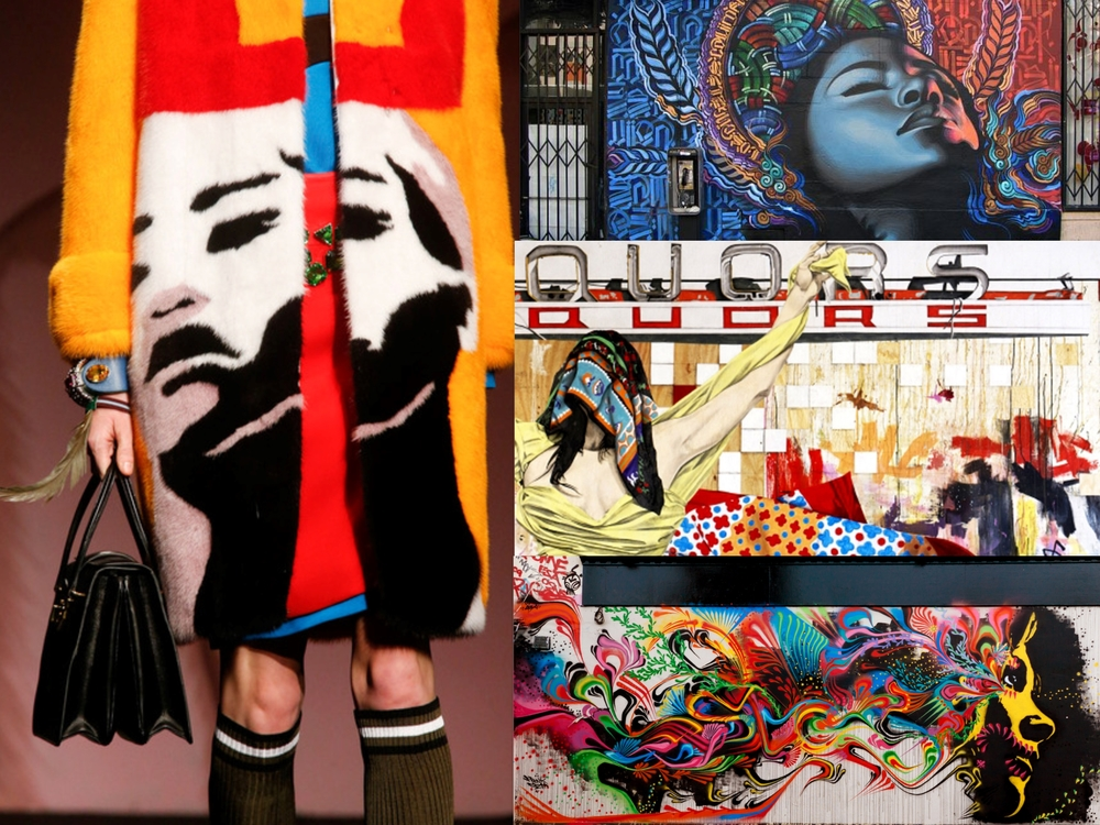 "On the left: one of Prada's color saturated coats.  On the right, some of the artists' murals who collaborated with Miuccia for this collection. From top right: Miles ""El Mac"" Gregor; Gabriel Specter and Stinkfish"