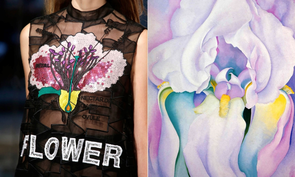 Kane's organza and embroidered-sequined top on the left and Georgia O'Keeffe's orchid on the right