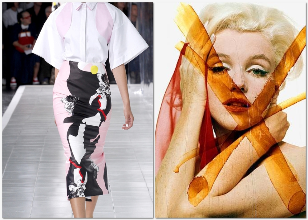 On the right: an image from Prabal Gurung's 2013 New York Fashion Week runway show.  On the left, a photograph by Bert Stern of Marilyn Monroe's last sitting