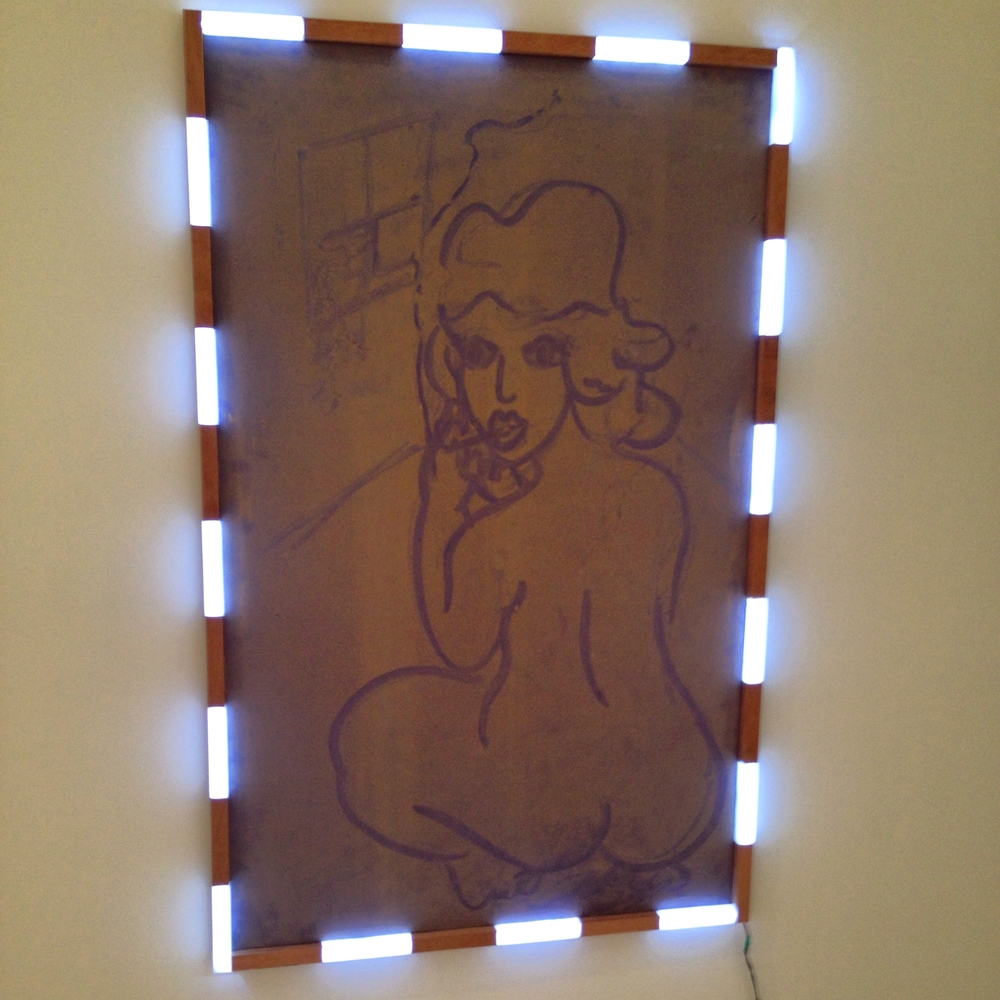 Lukas Geronimas's Dust Painting with LED and wood frame