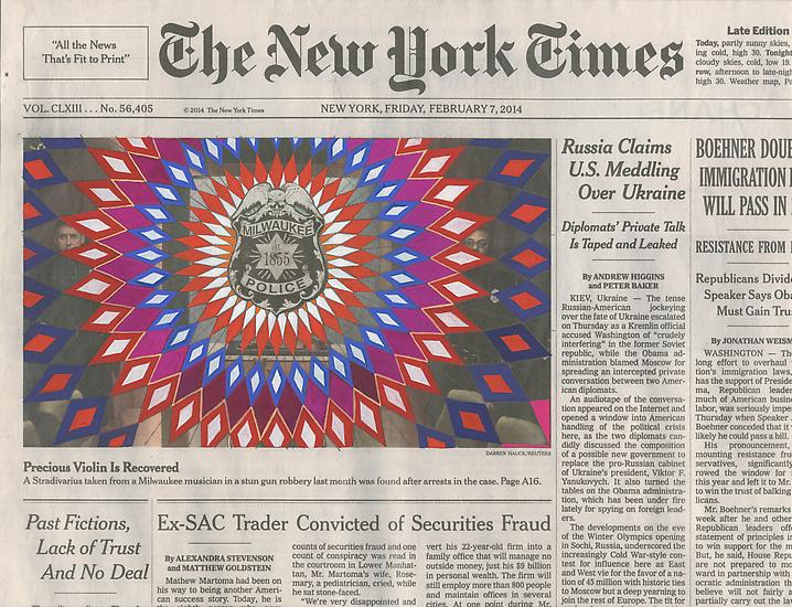 "One of the New York Times ""Collaborations"" by Fred Tomaselli.  This in particular is quite recent, from February 2014."