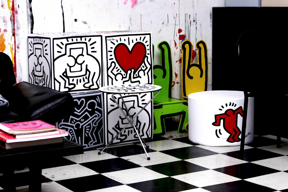 Some of the products that have been made with the foundation's approval and licensing of Keith's images.  Keith Haring artwork © Keith Haring Foundation