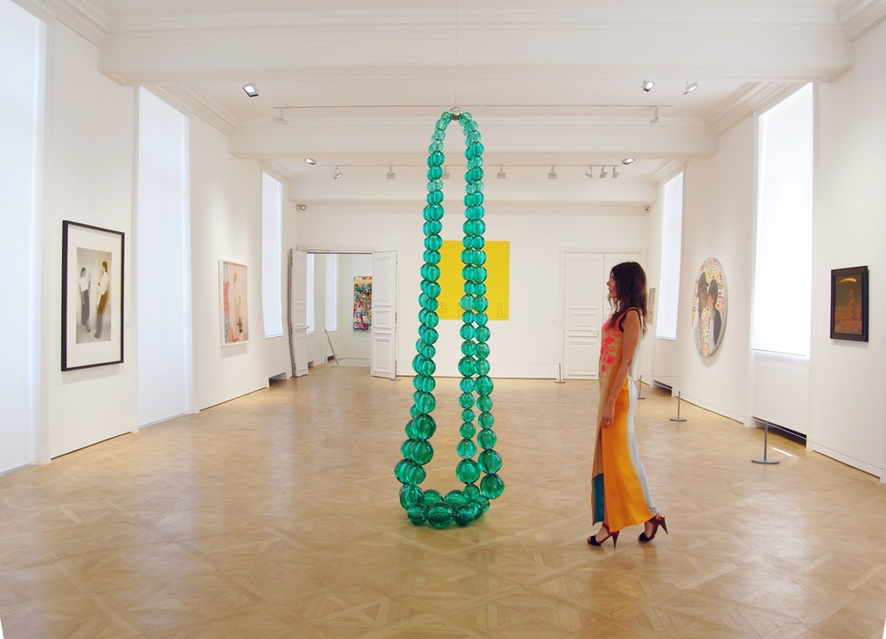 Jean-Michel Othoniel's necklace sculpture in the main room at the new space of Galerie Perrotin in Paris. Dress is by Vineet Bahl. All photos by Corinne Dalle-Ore