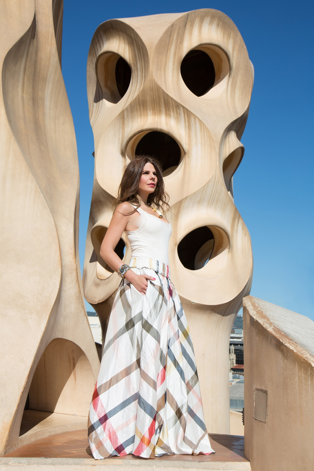 The rooftop of La Pedrera in Barcelona. Photo by Jordi Pelegri. Skirt by Calypso St. Barth.