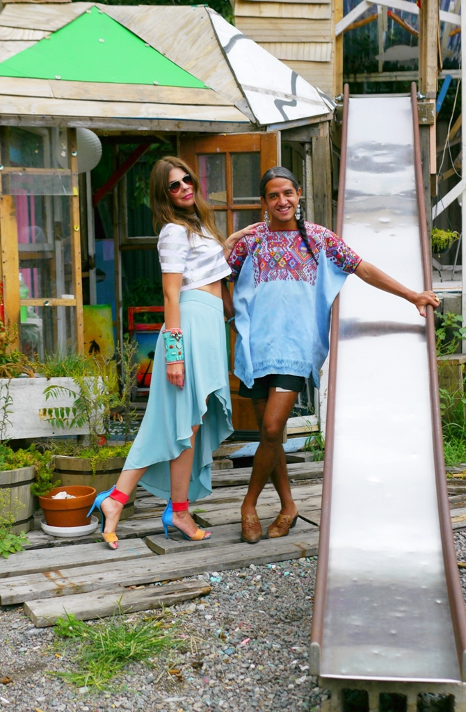 Raul and I in the yard of his Brooklyn studio. I'm wearing a top by Jonathan Saunders, skirt by Elizabeth and James, vintage beaded cuff and sandals by Pierre Hardy.  All pictures by Black Dot Creative.