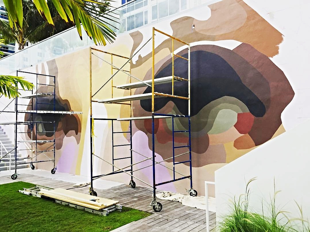 Robert Lazzarini's Mural in progress at 1 Hotel.