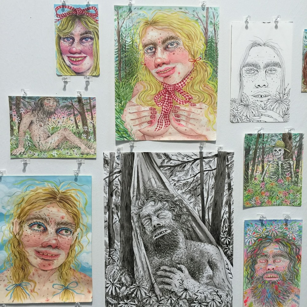 Rebecca Morgan's drawings at Asya Geisberg's booth at Art on Paper
