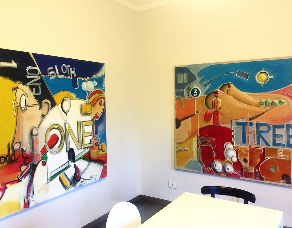 Works in progress at Ghazi Baker's studio