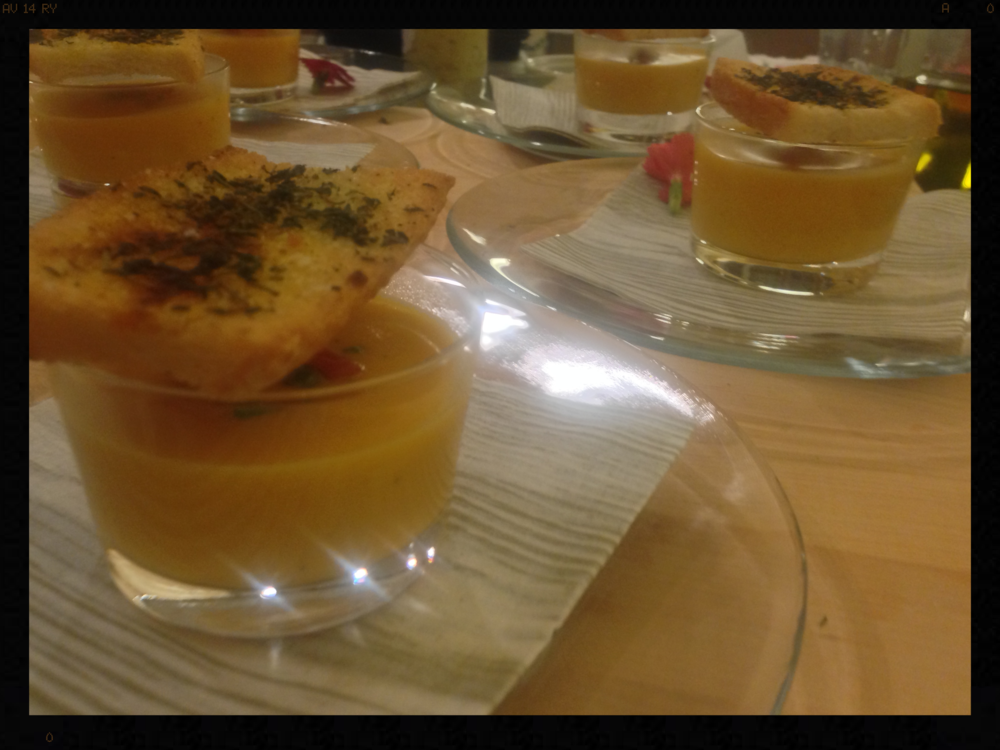 Roasted Butternut Squash soup with tomato concasse and Thyme baked crostini