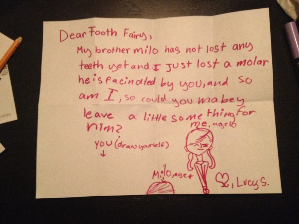 Lucy tooth fairy note