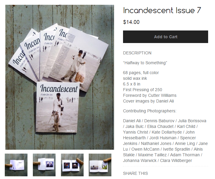 In 2015 Bolshaia Volga is published in Incandescent Issue Seven Magazine.