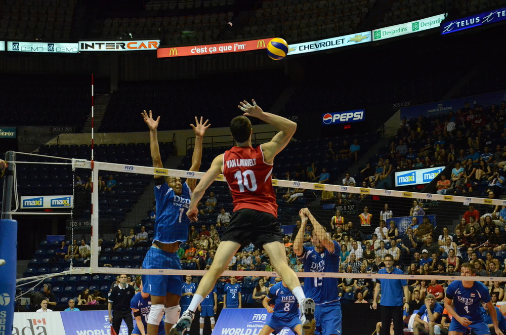 Canada's Toon Van Lankvelt swings for Canada in an opening 3-1 win over the Netherlands at the 2013 FIVB World League in Quebec City