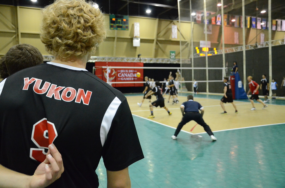 A player from the Yukon watches the action during their historic first win at the Canada Games vs. PEI