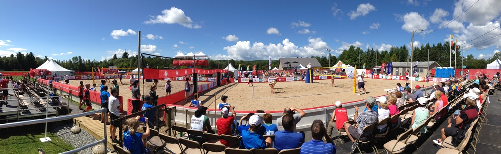 The competition courts at Atto Beaver Park, the venue for Beach Volleyball at the Canada Games