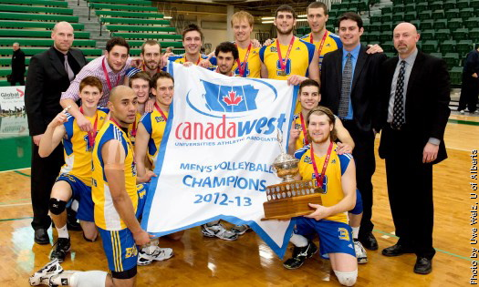 The 2012-2013 Canada West Men's Volleyball Champions: The Brandon Bobcats.  Photo: Uwe Welz, U of Alberta