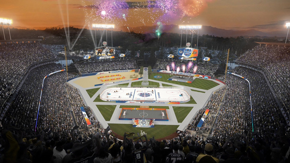 An artist rendering of The NHL Stadium Series at Dodger Stadium in Los Angeles.  What is that in left field? It's a beach volleyball court.  Photo: NHL.com