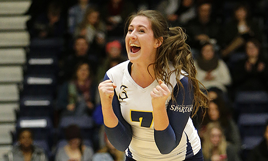 Sophie Carpentier and the rest of the No. 5 Spartan women's volleyball team play host to the No. 2 Brandon Bobcats this weekend. Will the Spartans continue cheering?  Photo:  The Province