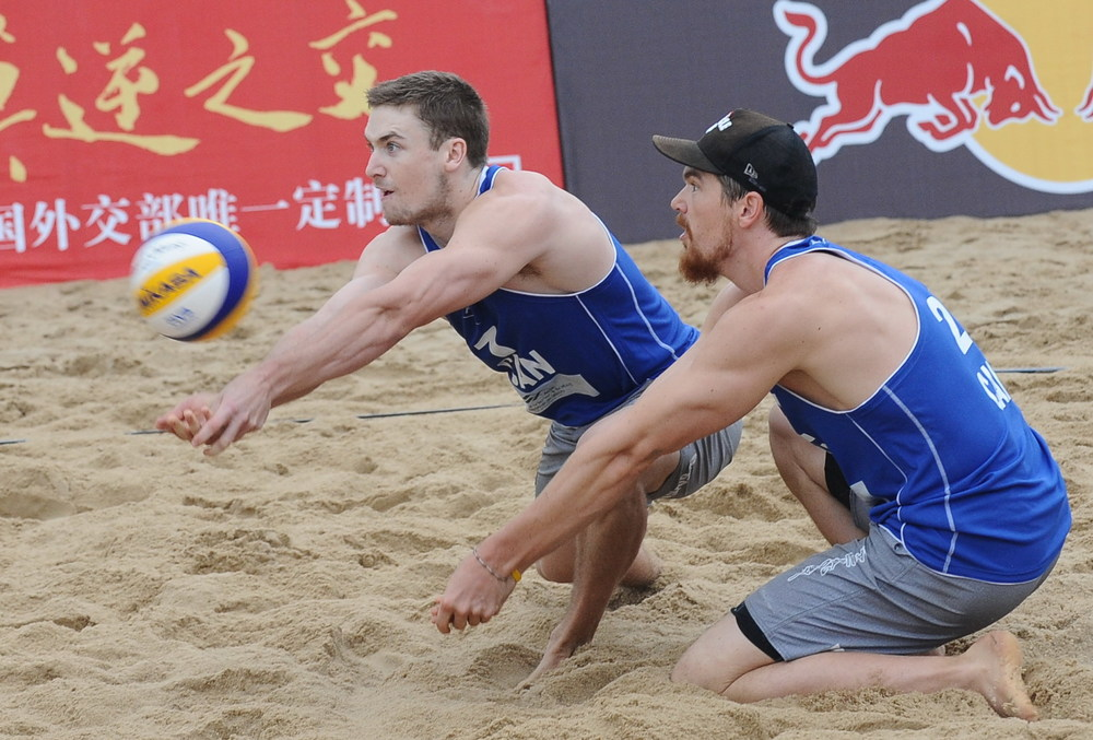 Grant O'Gorman and Sam Pedlow have started the 2014 FIVB season by going 5-0 through Qualification and pool play at the Fuzhou Open  Photo: FIVB