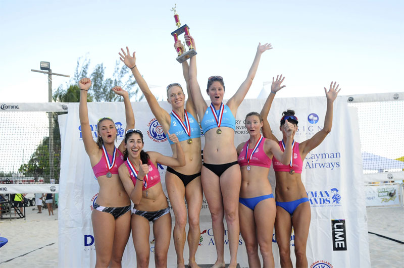 Canada's Taylor Pischke and Melissa Humana-Paredes (left) finished second at the first NORCECA Beach stop of the season in the Cayman Islands  Photo: NORCECA