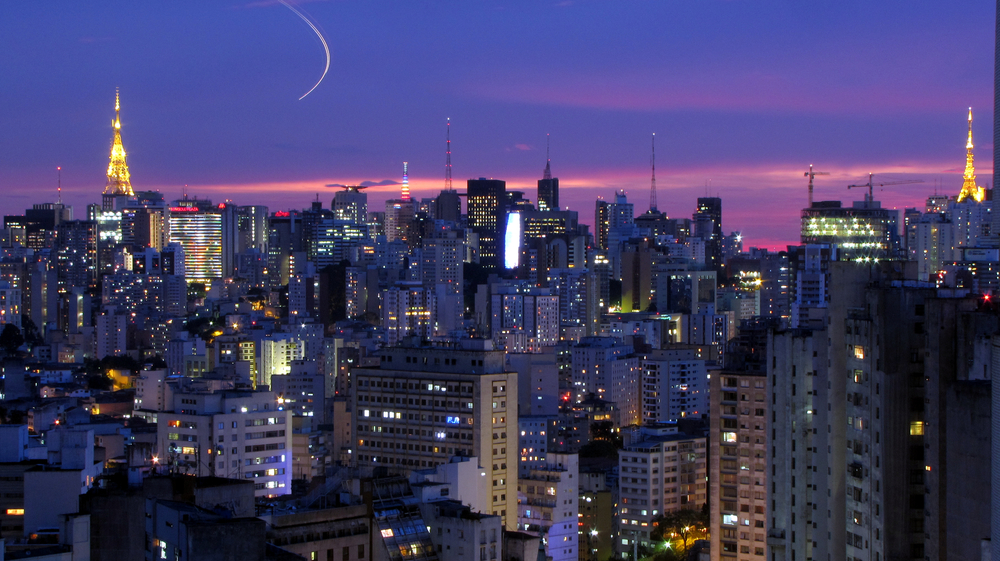 The Sao Paulo cityscape at sunset.  Photo:  Copan