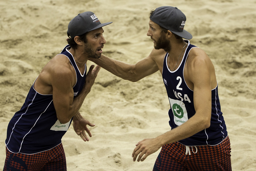 Nick Lucena and Theo Brunner finished just shy of the medals in fourth at the 2015 FIVB Beach Volleyball World Championships in The Netherlands this year.  Photo: FIVB