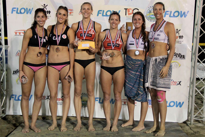 Melissa Humaña-Predes, Taylor Pischke, Kristina Valjas and Jamie Broder joined by Lauren Fendrick and Brooke Sweat on the podium  Photo: NORCECA