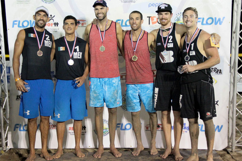 Sam Pedlow and Grant O'Gorman pose with Juan Virgen and Lombardo Ontiveros of Mexico and Phil Dalhausser and Nick Lucena of the USA.  Photo: NORCECA