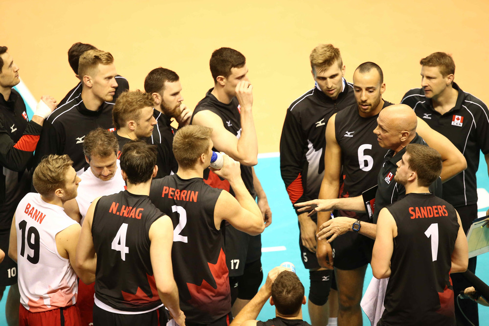 Team Canada during a timeout.  Photo: FIVB