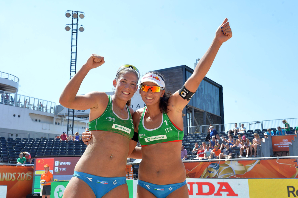 Viktoria Orsi Toth (left) and her partner Marta Menegatti (right)   Photo: FIVB
