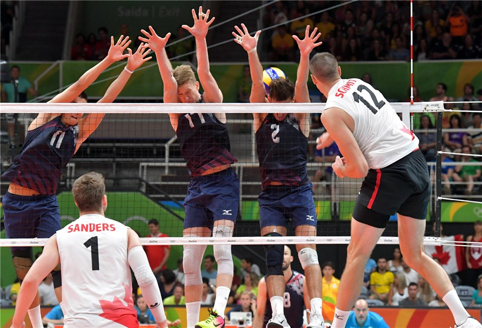 Gavin Schmitt was once again in beast mode - scoring 13 points and hitting a .428.  Photo: FIVB